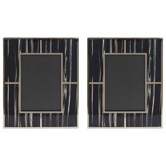 Pair of Rectangular Black and White Macassar Photo Frames by Fabio Bergomi
