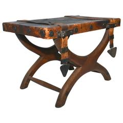 Stool Butaque Miguelito, Mahogany and Leather