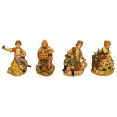 Four German Dresden Porcelain Figurines in Overglaze Technic