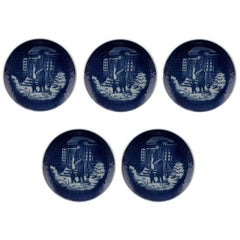 Five Royal Copenhagen Christmas and Memorial Plates