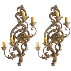 Antique Art Nouveau Carved Giltwood Sconces, Pair