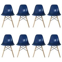 Eight Royal Blue Herman Miller by Eames Dining Chairs