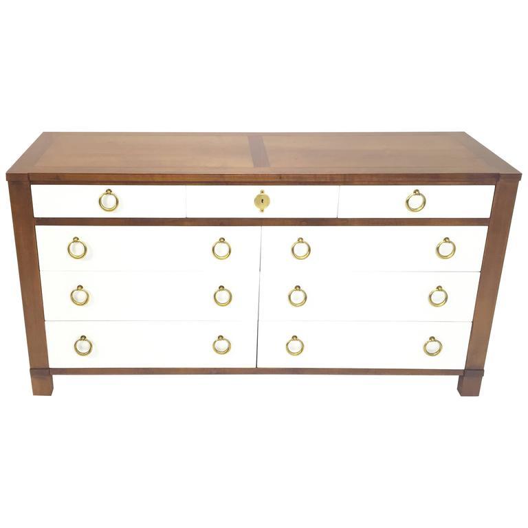 Baker Furniture Modern Regency Dresser With Brass Ring Pulls 1