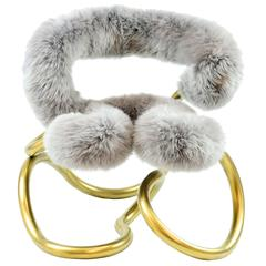 Railing Stool R3 in Stainless Steel with Mongolian Sheep Fur Upholsted