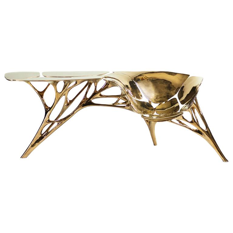 lotus console table in rose gold color finish 1