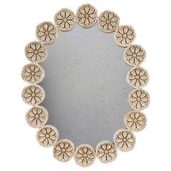 Large Oval Mirror with Carved Roundels