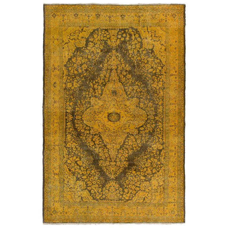 Midcentury Turkish Rug Re-Dyed In Yellow And Green For