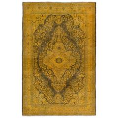 Midcentury Turkish Rug Re-Dyed in Yellow and Green