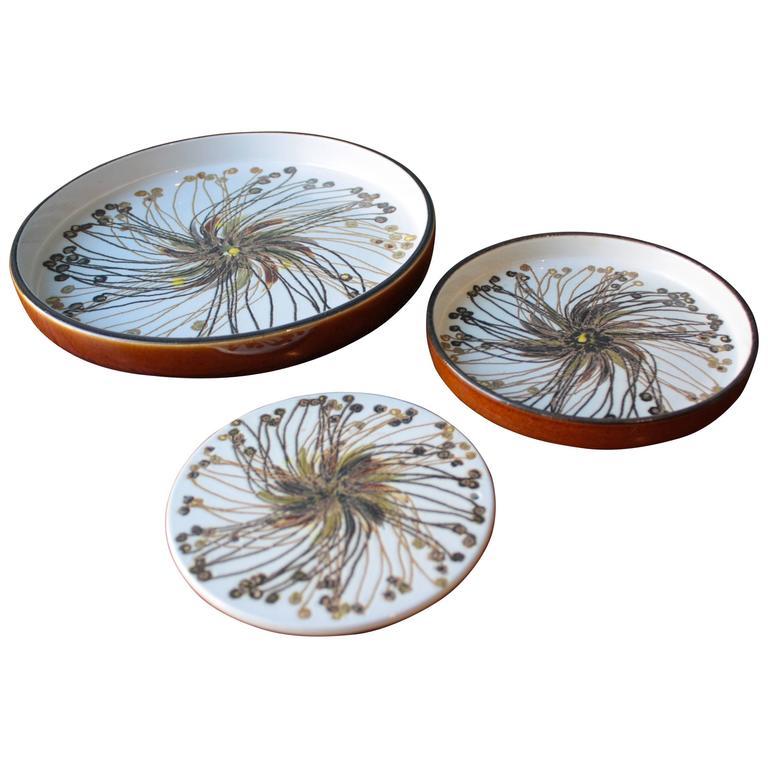 Vintage BACA Fajence Plates by Ellen Malmer for Royal Copenhagen, Set of Three