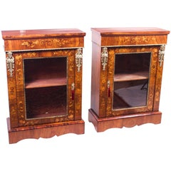 19th Century Pair of Burr Walnut Marquetry Pier Cabinets