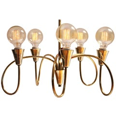 Long  Drop Five Arms Brass Chandelier in the Style of Stilnovo, 1950s , Italy