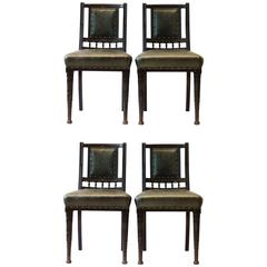 Bruce Talbert. Gillows, Four Aesthetic Movement Ebonised & Leather Dining Chairs