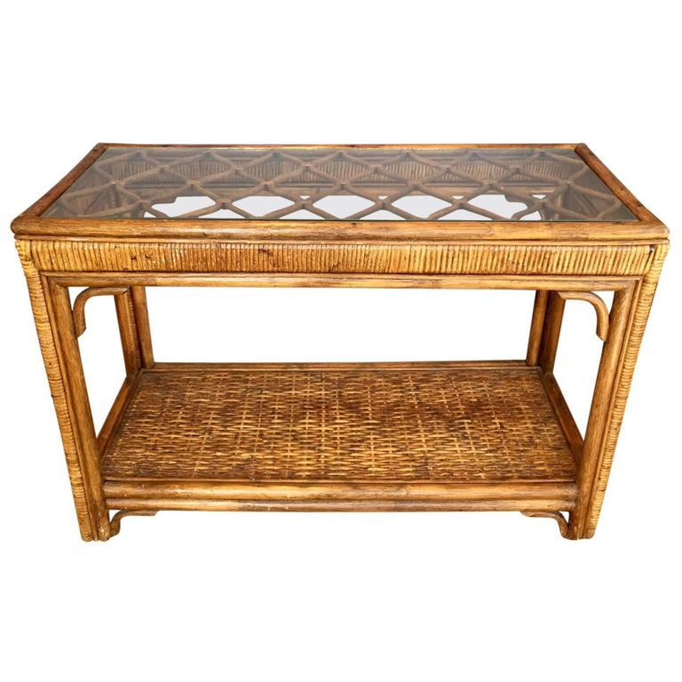 Handsome Rattan And Gl Console Table For