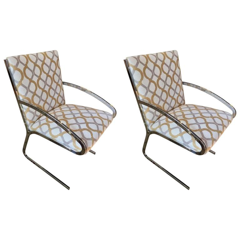 Pair of Mid-Century Modern Chrome and Chenille Armchairs For Sale