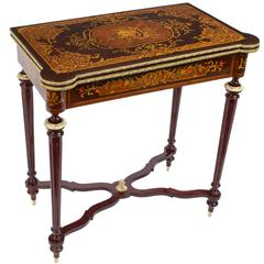 Louis XV Style Rosewood Marquetry Card Games Table