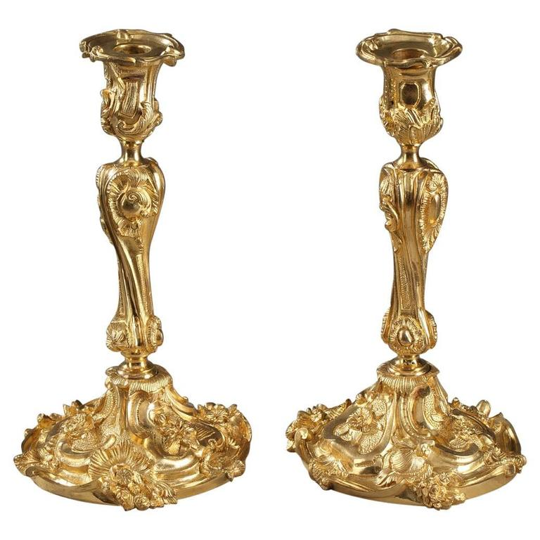 Pair of Gilt Bronze Candlesticks in Louis XV Style