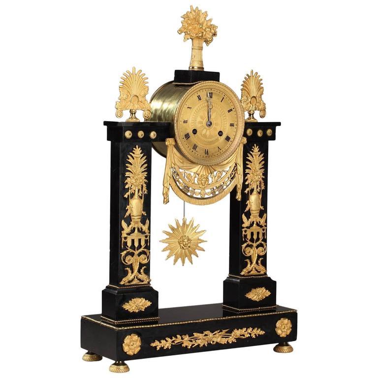 Marble and Gilt Bronze Portico Clock-Empire Period