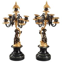 Pair of Candelabras with Putti, 19th Century