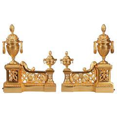Louis XVI Style Ormolu Andirons