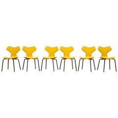 Set of Six Arne Jacobsen Grand Prix Chairs *NEW UPHOLSTERY*
