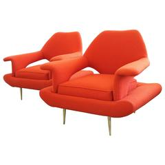 Pair of Mid-Century Couture Chairs in the Style of Gastone Rinaldi