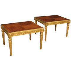 20th Century Pair of Italian Golden Coffee Table in Louis XVI Style