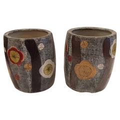 Pair of Floral Contemporary Japanese Hibachi Jars