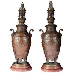 Fine Pair of Lamps by Ferdinand Levillain, 19th Century