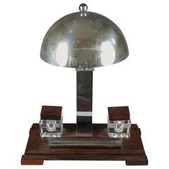 Art Deco Desk Lamp with an Inkstand Composed of Two Inkwells and a Pen Holder