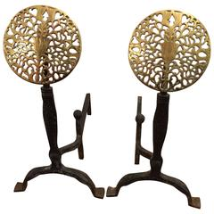Pair of Stylish Wrought Iron and Brass Medallion Andirons
