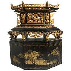 Straits Chinese Lacquer and Gilt Altar Offering Box