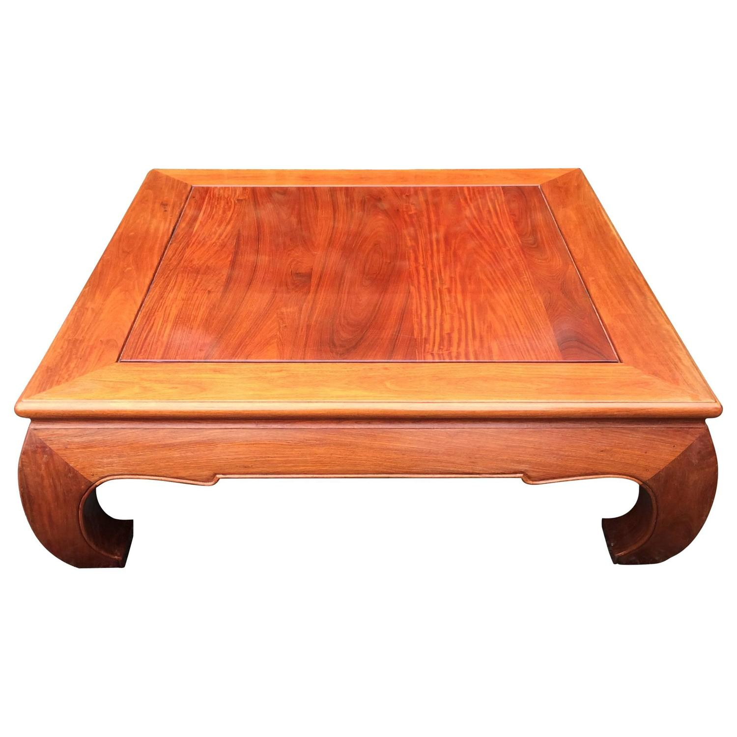 Large handsome mahogany square coffee table with asian for Mahogany coffee table