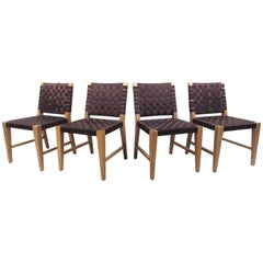 Set of Four Modern Jens Risom Style Strap Chairs