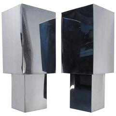 Pair of Mid-Century Modern Angular Chrome Wall Sconces