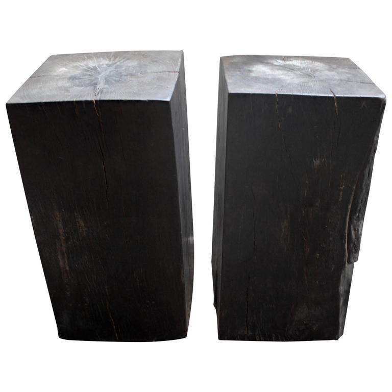 Ebonized Solid Teak Block End Tables For Sale At 1stdibs