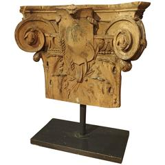 Stripped and Mounted Antique Pilaster Capital from France, circa 1850