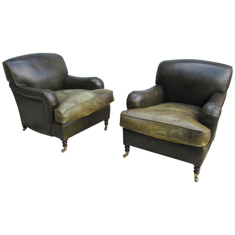 George Smith Pair Of Medium Std. Armchairs In Dark Green Leather 1