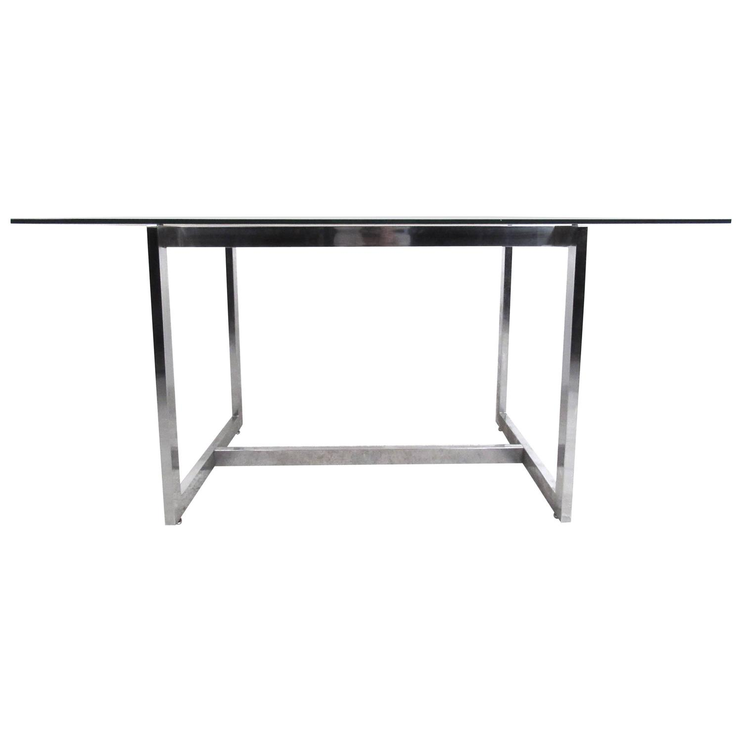 Mid Century Modern Chrome And Glass Dining Table In The