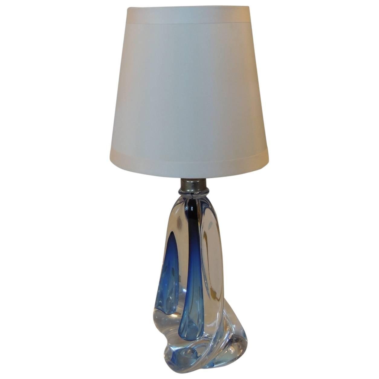small table lamp by val st lambert with custom silk shade at 1stdibs. Black Bedroom Furniture Sets. Home Design Ideas