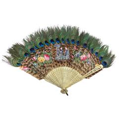 Hand Held Fan of Peacock Feathers, Japan, circa 1880s