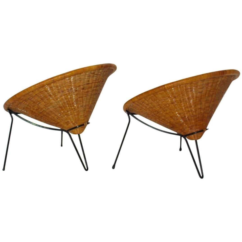 Mid Century Modern Vintage Rattan Patio Garden Chairs Roberto Mango Italy, 1950s