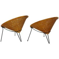 Mid Century Modern Vintage Rattan Garden Chairs by Roberto Mango, Italy, 1950s