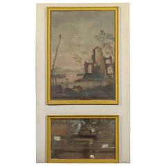 19th Century French Trumeau Mirror with Oil on Canvas Landscape Painting