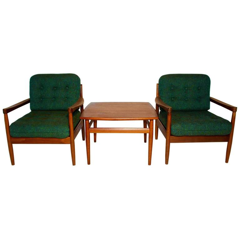 Green living room set by grete jalk denmark circa 1955 for Danish living room furniture