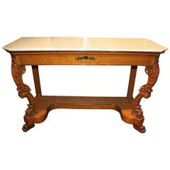 19th Century Biedermeier Marble-Top Console or Pier Table