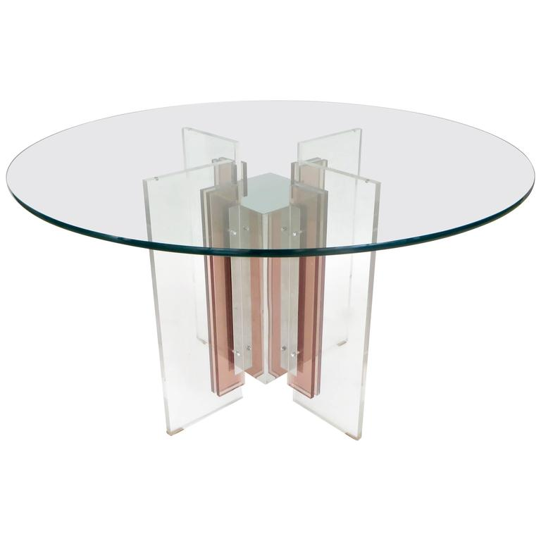 Philippe Jean French Illuminated Stainless Steel and Lucite Dining Table Signed For Sale