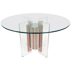 Philippe Jean French Illuminated Stainless Steel and Lucite Dining Table Signed