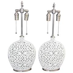 Unusual Pair of Cream Colored Ceramic Filigree Vessels with Lamp Application