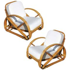 Restored Frankl Round Pretzel Arm Rattan Lounge Chair, Pair