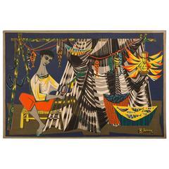 Vintage Signed Printed Tapestry, Robert Debieve, of Man Repairing Fishing Net